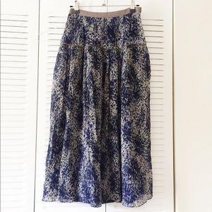 ElizabethJames Blue Printed Skirt Maxi Tea-length
